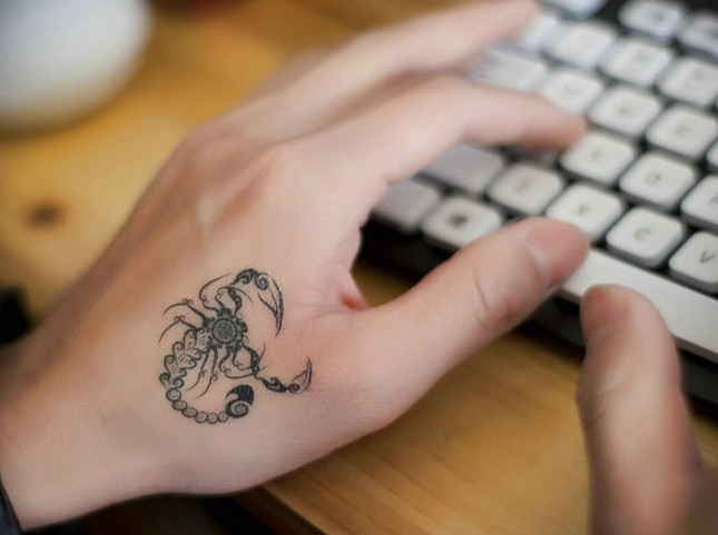 Black Scorpion Temporary Tattoo On Hand