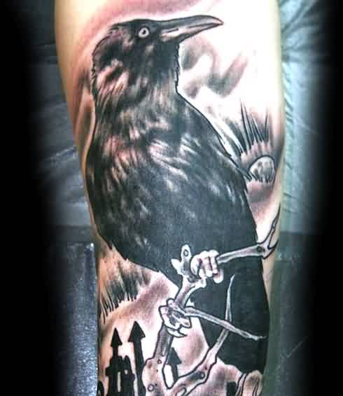 Black Sitting Crow Portrait Tattoo On Arm