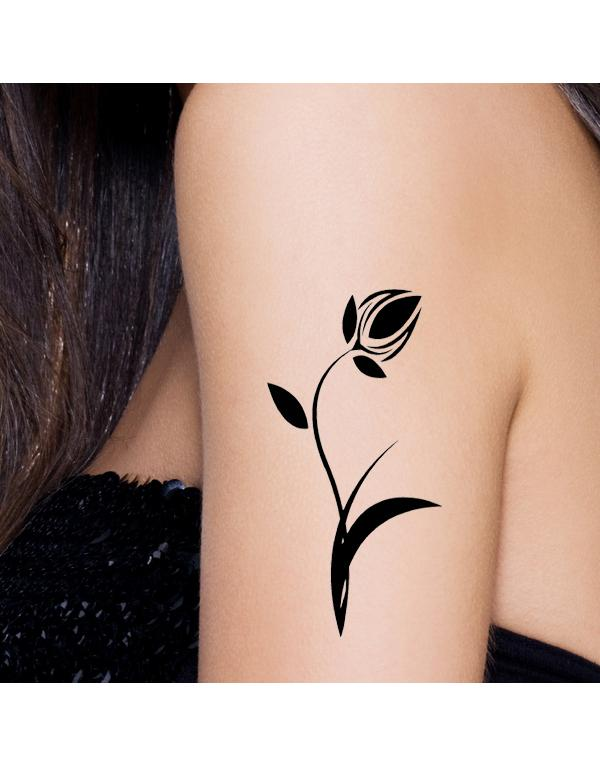 Black Tulip Temporary Tattoo On Arm