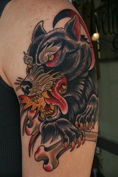 Black Wolf And Crossed Bone Tattoos On Biceps