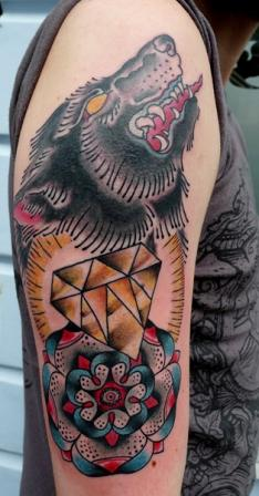 Black Wolf Diamond And Flower Tattoos On Arm