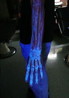 Blacklight Arm Bones Tattoo