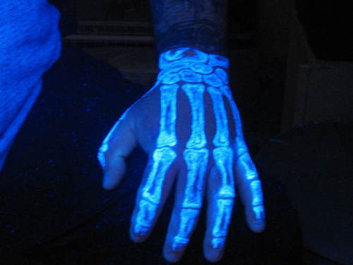 Blacklight Bones Hand Tattoo