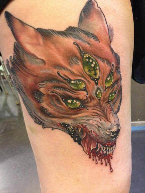 Bleeding Animal Head Tattoo (2)