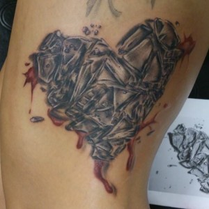 Bleeding Broken Glass Heart Tattoo
