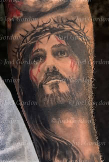 Bleeding Christ Portrait Tattoo