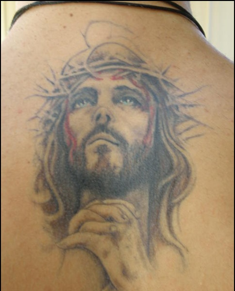 Bleeding Christian God Portrait Tattoo On Back