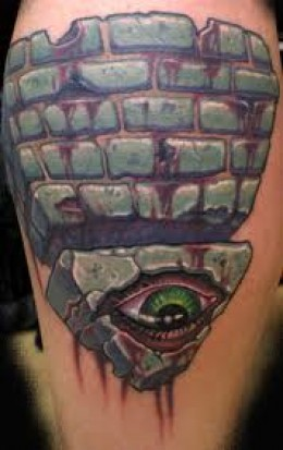 Bleeding Eye Stone Pyramid Tattoo