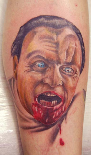 Bleeding Face Portrait Tattoo