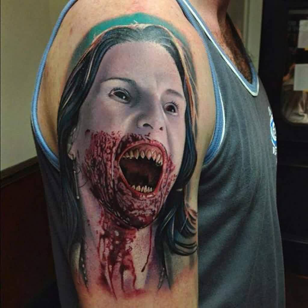 Bleeding Girl Portrait Tattoo On Shoulder
