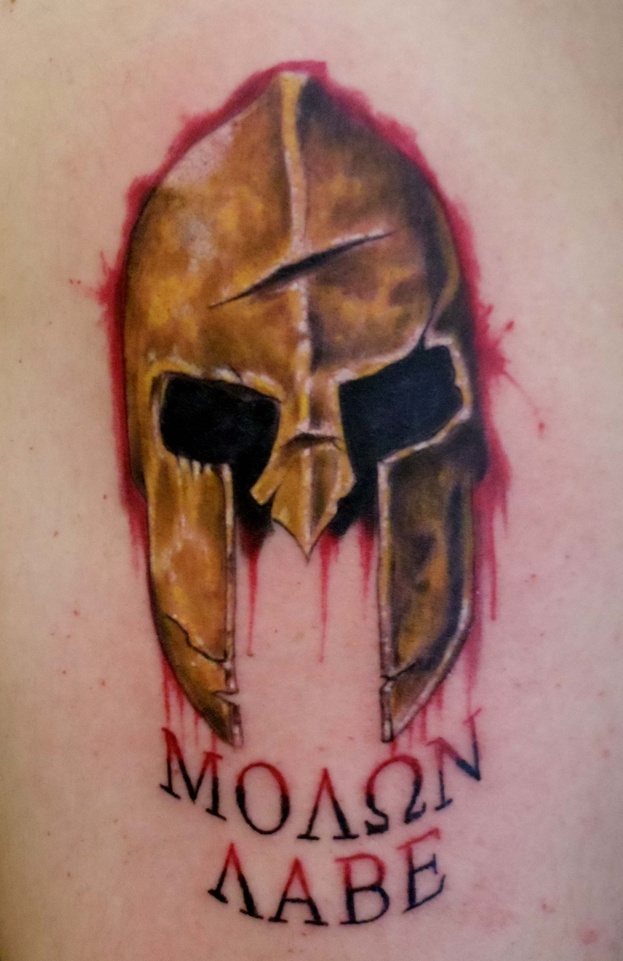 Bleeding Helmet Tattoo