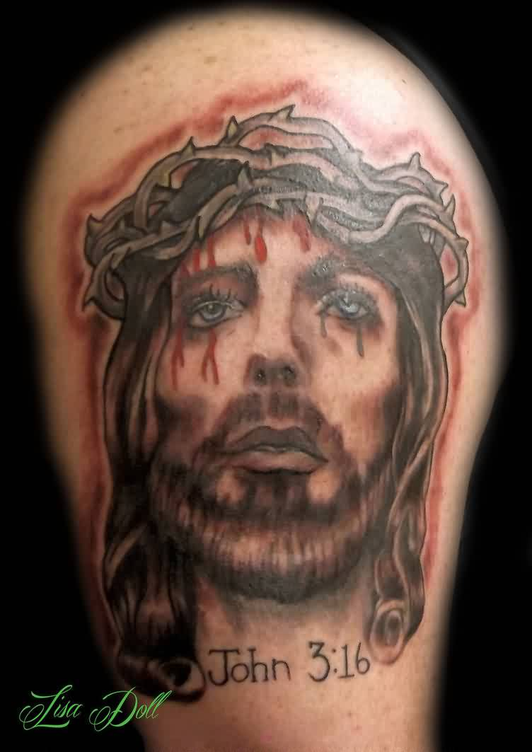 Bleeding Jesus Portrait Tattoo On Biceps