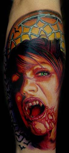 Bleeding Vampire Girl Portrait Tattoo On Arm