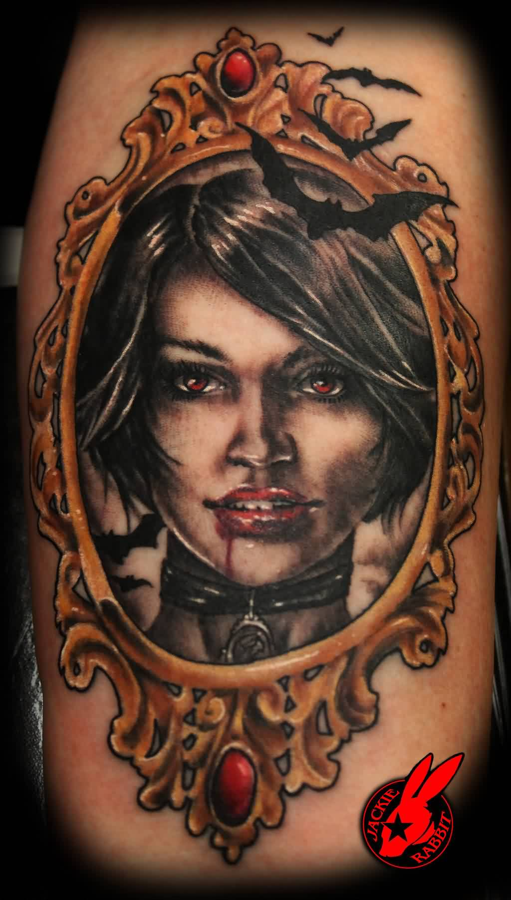Bleeding Vampire Portrait In Frame Tattoo