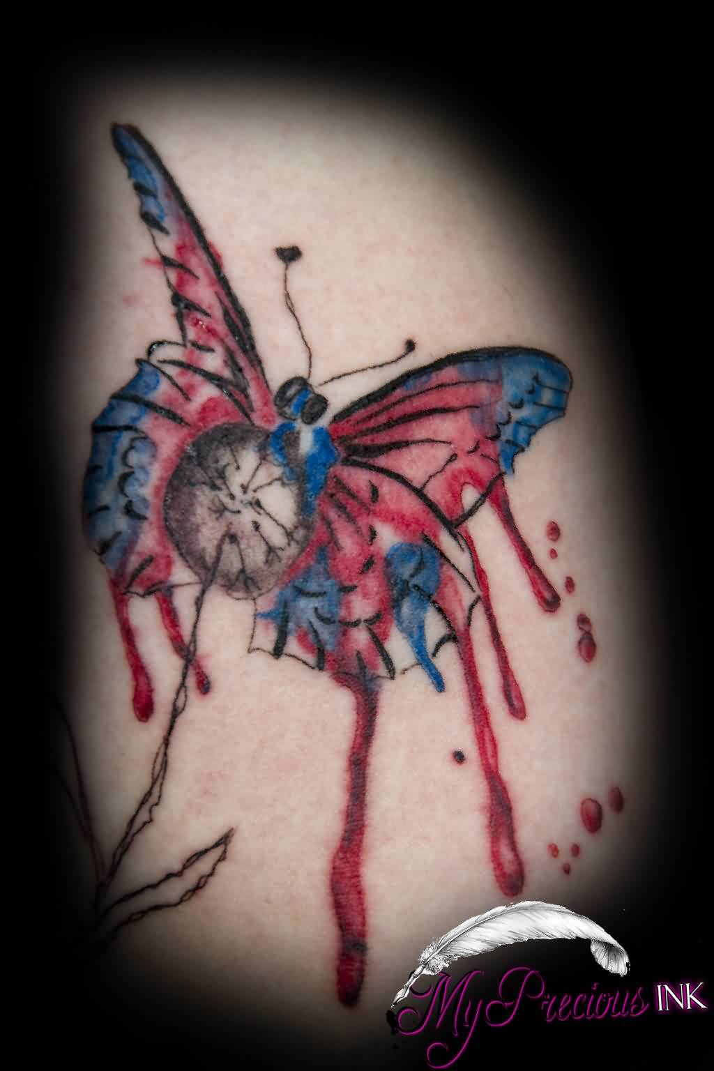 Bleeding Watercolor Butterfly Tattoo