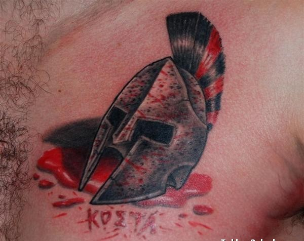 Blood And Helmet Tattoos On Chest