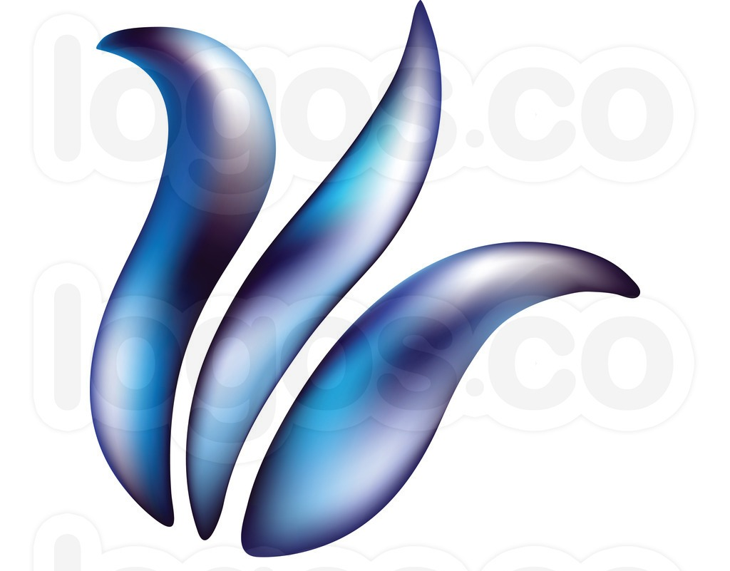 Blue And Ourple Tilted Tulip Logo Tattoo Design