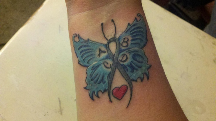 Blue Butterfly With Ribbon Tattoo On Wrist