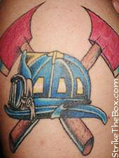 Blue Firefigher Helmet And Crossed Axe Tattoos
