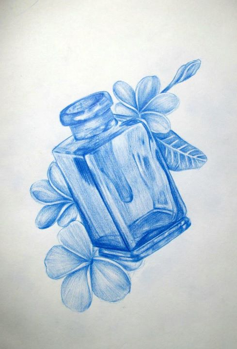 Blue Flowers And Bottle Tattoos Design