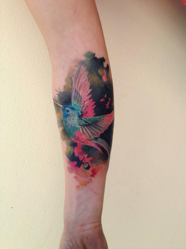 Blue Hummingbird With Pink Wings Watercolor Tattoos