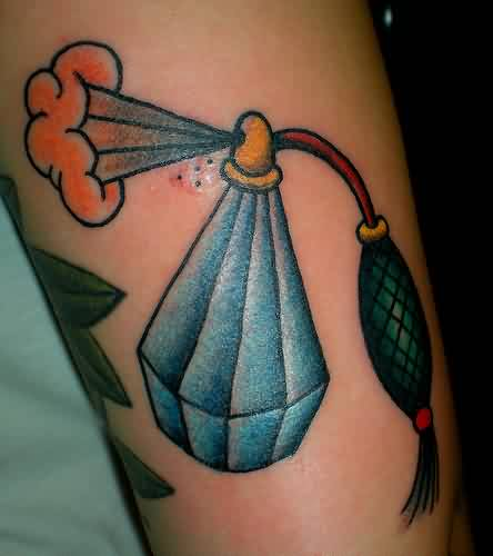 Blue Ink Diamond Shape Perfume Bottle Tattoo