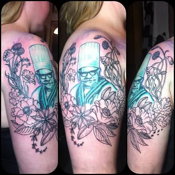 Blue Ink Man Portrait In Flower Tattoos