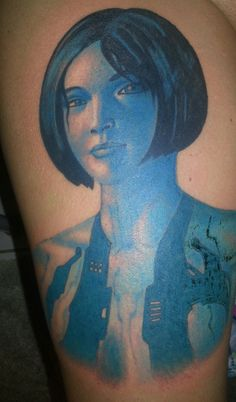 Blue Ink Short Hair Girl Portrait Tattoo