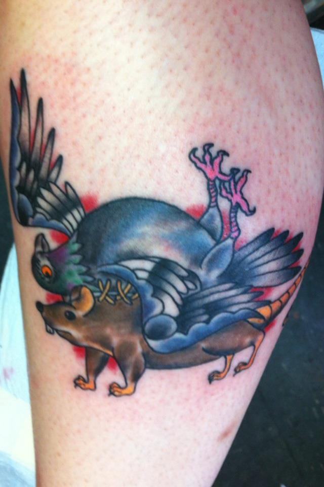 Blue Pigeon On Rat Tattoo
