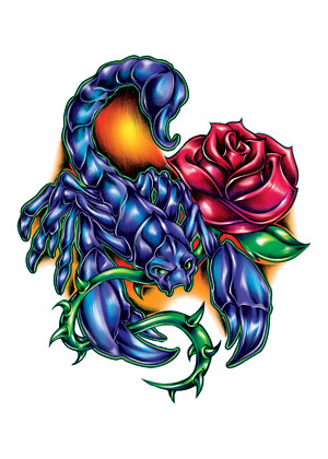 Blue Scorpion And Rose Tattoo Designs