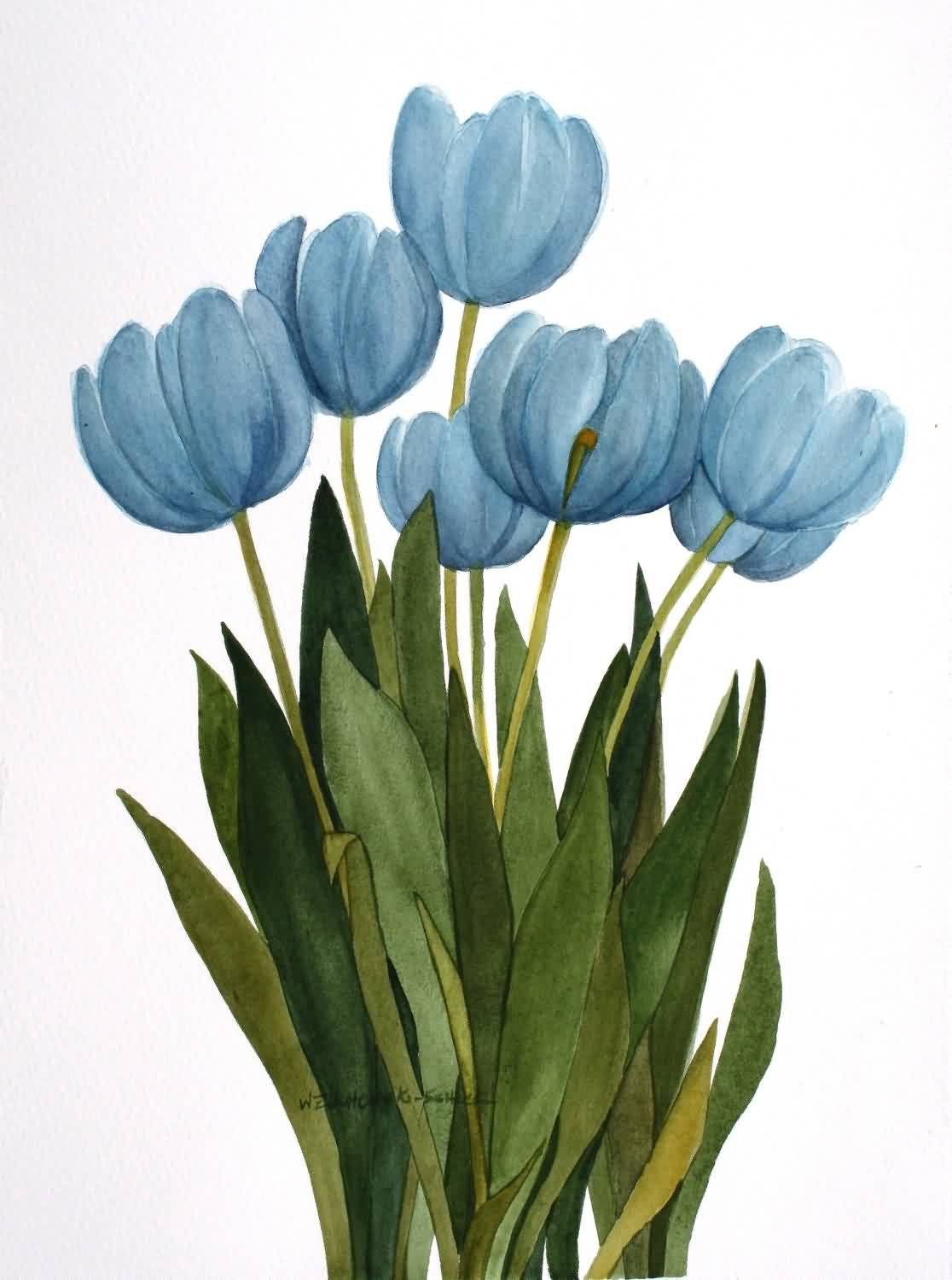 Blue Tulips Tattoo Designs