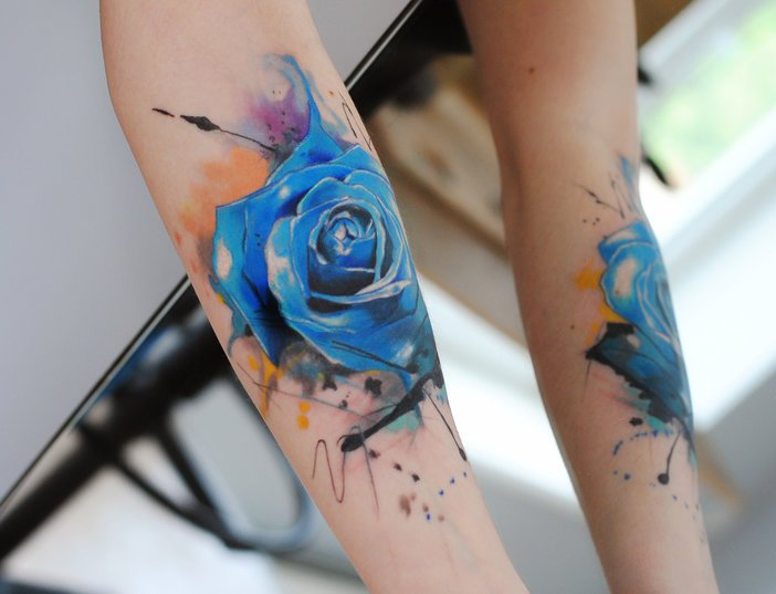 Blue Watercolor Rose Forearm Tattoos