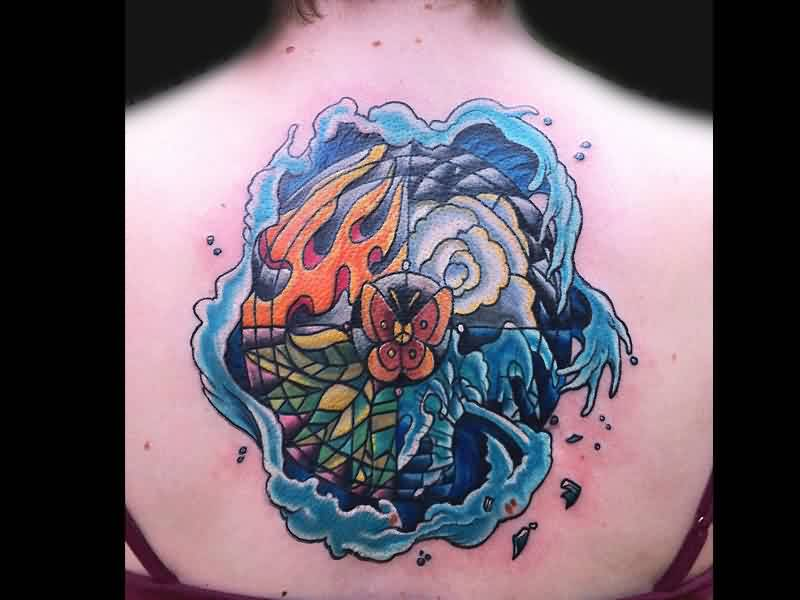 Blue Waves Around Stained Glass Tattoo On Upperback