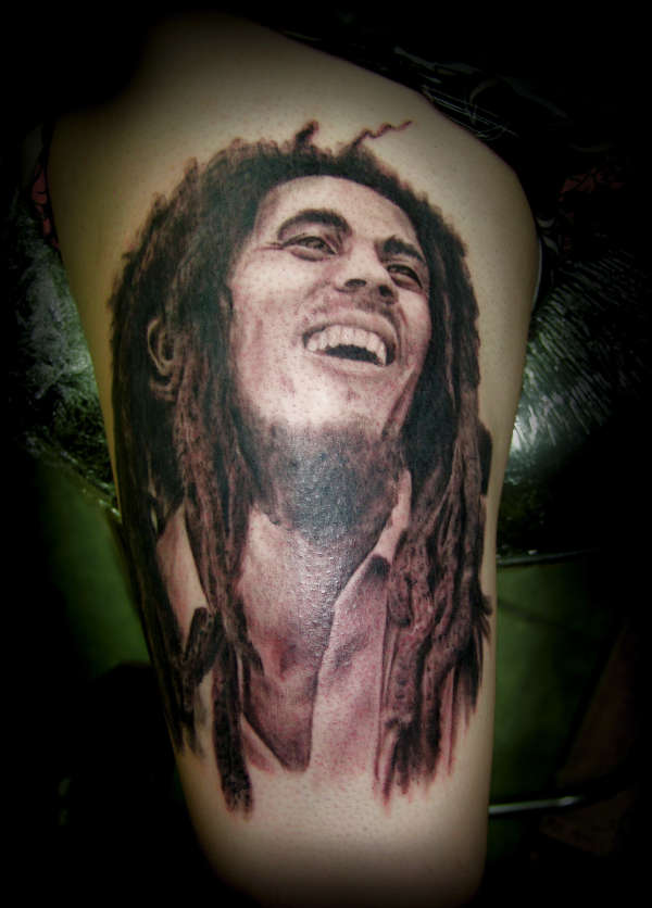 Bob Marley Smiling Portrait Tattoo