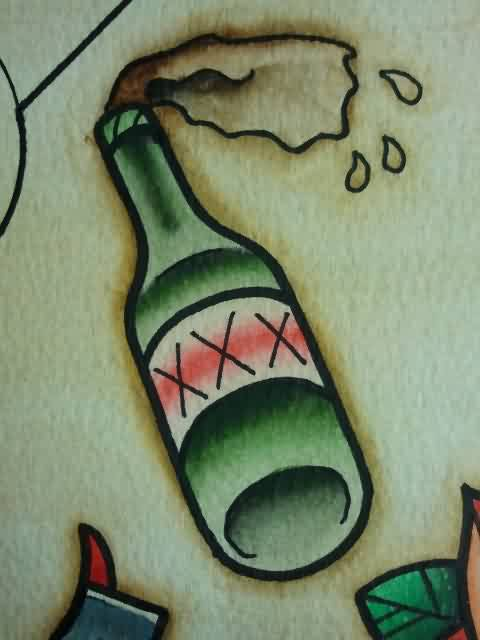Booze Bottle Tattoo Flash