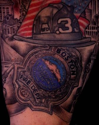Boston Fire Helmet Tattoo