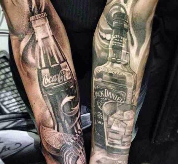 Bottle And Glass Portrait Tattoos On Arm
