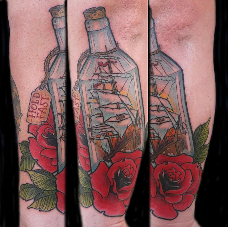 Bottle And Rose Tattoos