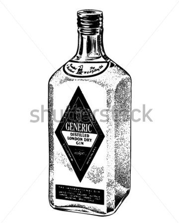 Bottle Of Distilled Gin Tattoo Sample