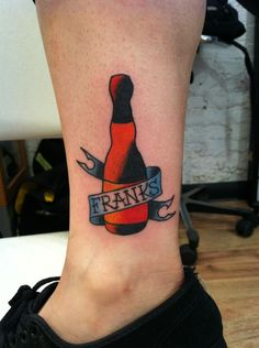 Bottle With Banner Tattoos On Ankle