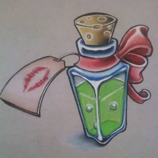 Bottle With Bow Tattoo Flash
