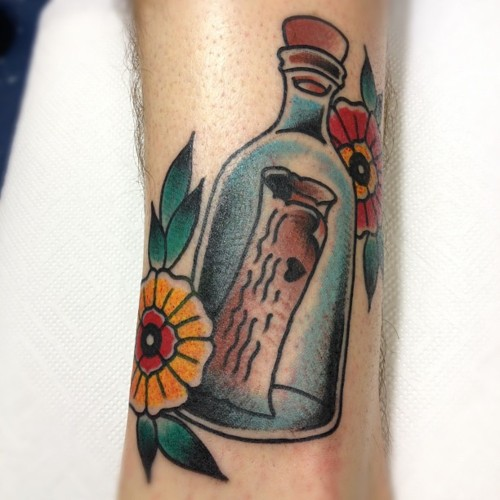 Bottle With Message Tattoo