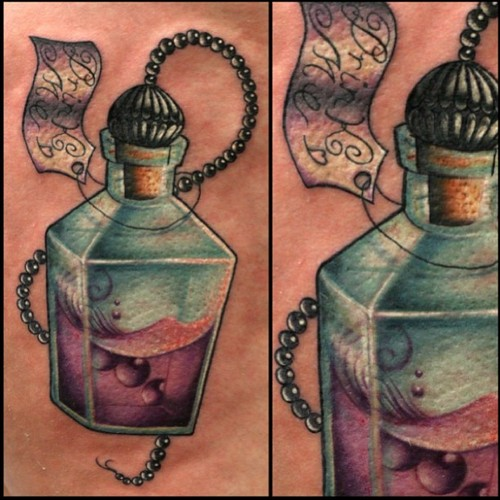 Bottle With Rosary Beads Tattoo