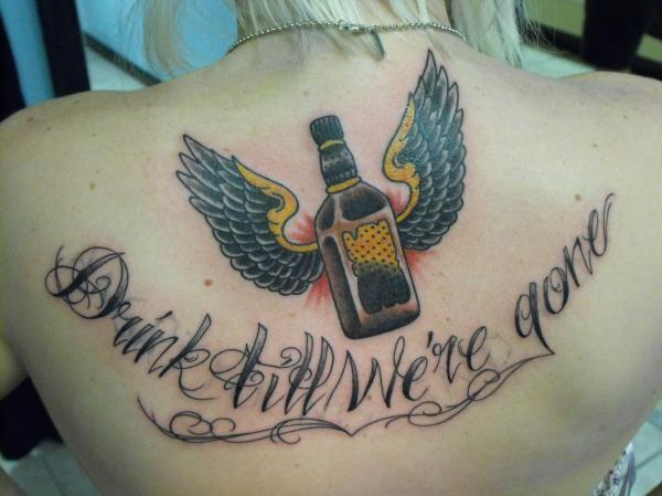 Bottle With Wings Tattoo On Upperback