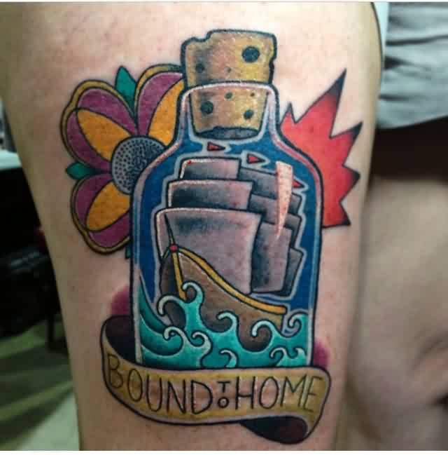 Bound Home Bottle And Wave Tattoos