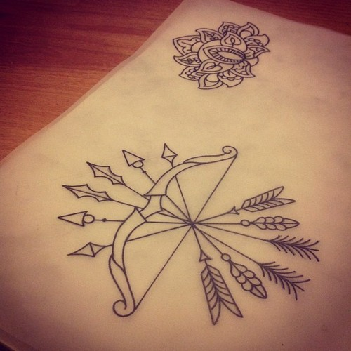 Bow Arrows And Mandala Tattoo Designs