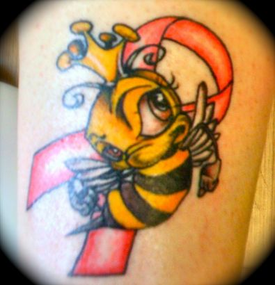 Breast Cancer Ribbon Behind Queen Bee Tattoo