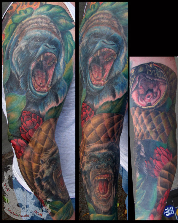 Brians Animal Full Sleeve Tattoos