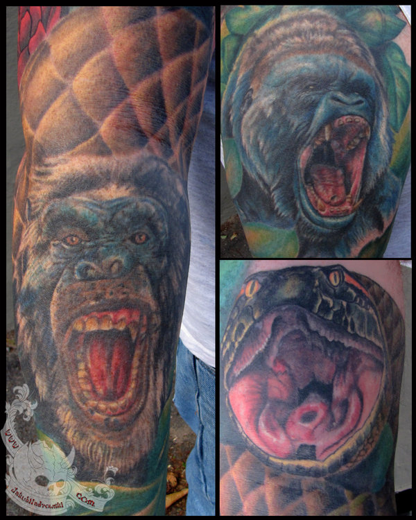 Brians Animal Sleeve Close Up Tattoo