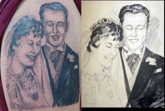 Bride And Bridegroom Portrait Tattoo On Biceps